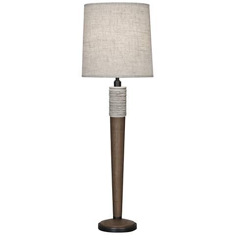 Berkley Walnut Wood Buffet Table Lamp w/ Bisque Linen Shade