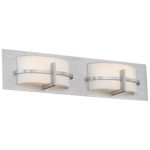 "dweLED Compass 5"" High Brushed Aluminum 2-Light LED Wall Sconce"