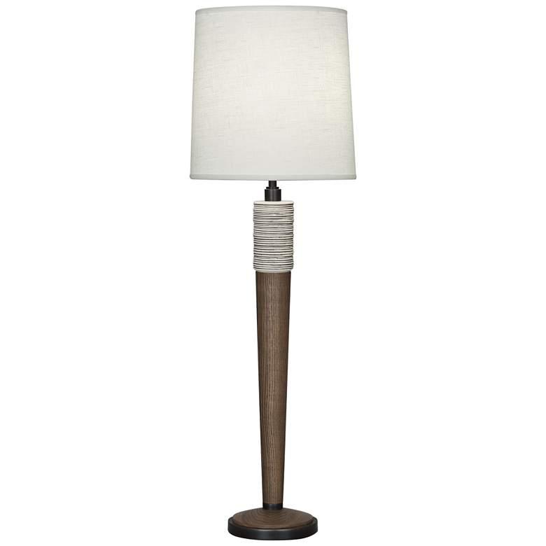 Berkley Walnut Wood Buffet Table Lamp with Brussels Shade