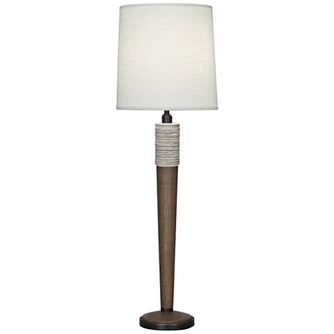 Berkley Walnut Wood Buffet Table Lamp with Brussels Shade
