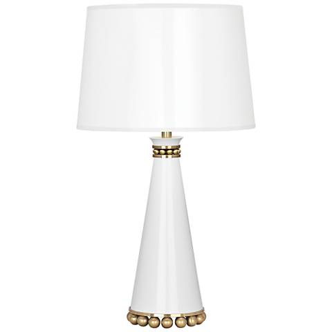 "Pearl 19 3/4""H Lily Lacquer and Brass Accent Table Lamp"