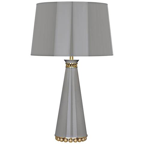 Robert Abbey Pearl Smokey Taupe Lacquer and Brass Table Lamp