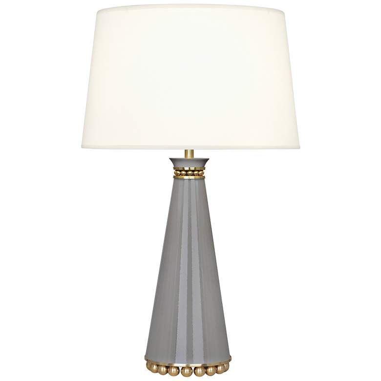 Pearl Smokey Taupe and Brass Table Lamp with