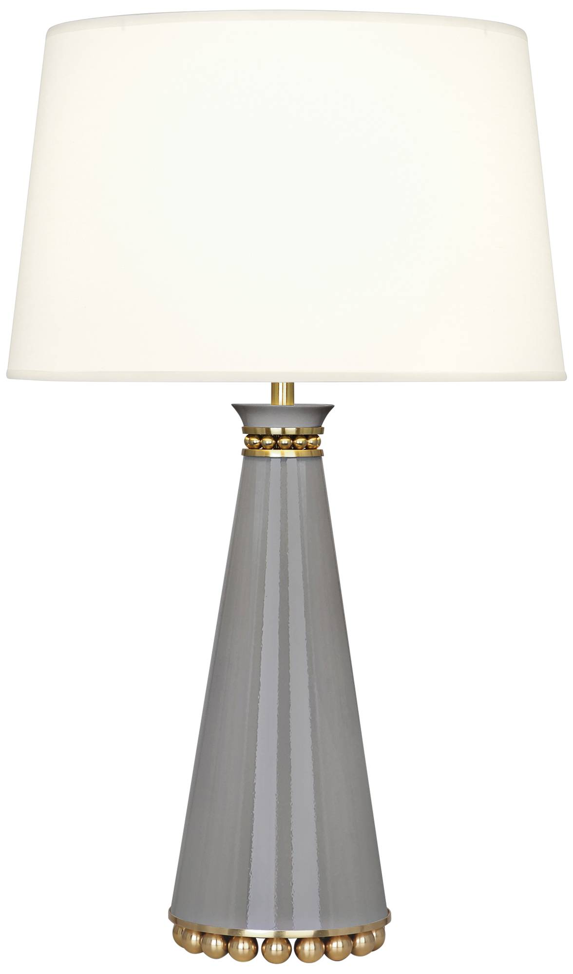 Pearl smokey taupe and brass table lamp with fondine shade