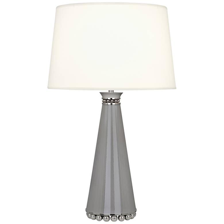 Pearl Smokey Taupe and Nickel Table Lamp w/ Fondine Shade