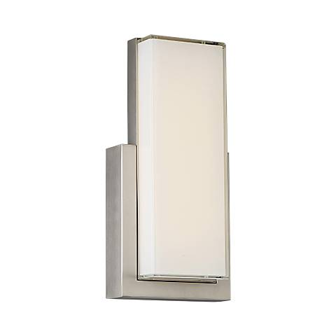 """dweLED Corbusier 15"""" High Satin Nickel LED Wall Sconce"""