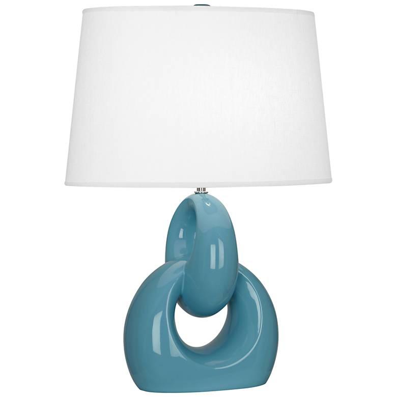 Robert Abbey Fusion Steel Blue Ceramic Table Lamp