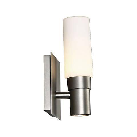 "dweLED Pillar 8"" High Satin Nickel LED Wall Sconce"