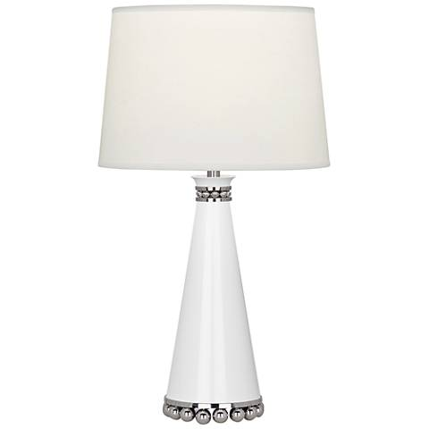 "Pearl 19 3/4""H Lily and Nickel Table Lamp w/ Fondine Shade"