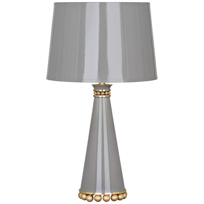 """Pearl 19 3/4"""" High Smokey Taupe and Brass Accent Table Lamp"""