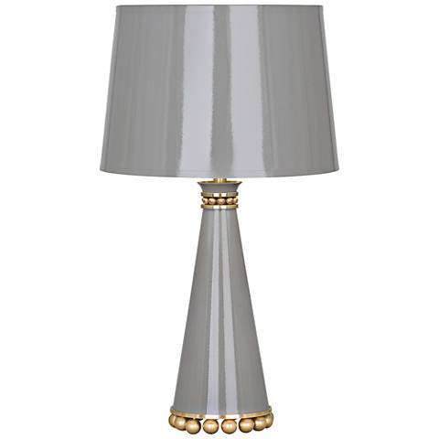 "Pearl 19 3/4"" High Smokey Taupe and Brass Accent Table Lamp"