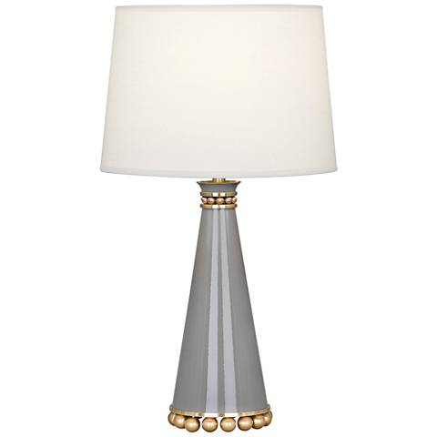 "Pearl 19 3/4""H Smokey Taupe and Brass Ceramic Table Lamp"