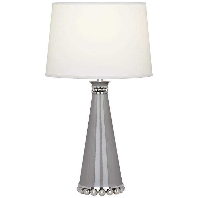 "Pearl 19 3/4""H Smokey Taupe and Nickel Ceramic Table Lamp"