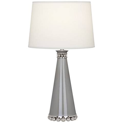 "Pearl 19 3/4""H Smokey Taupe and Nickel Ceramic Table Lamp"