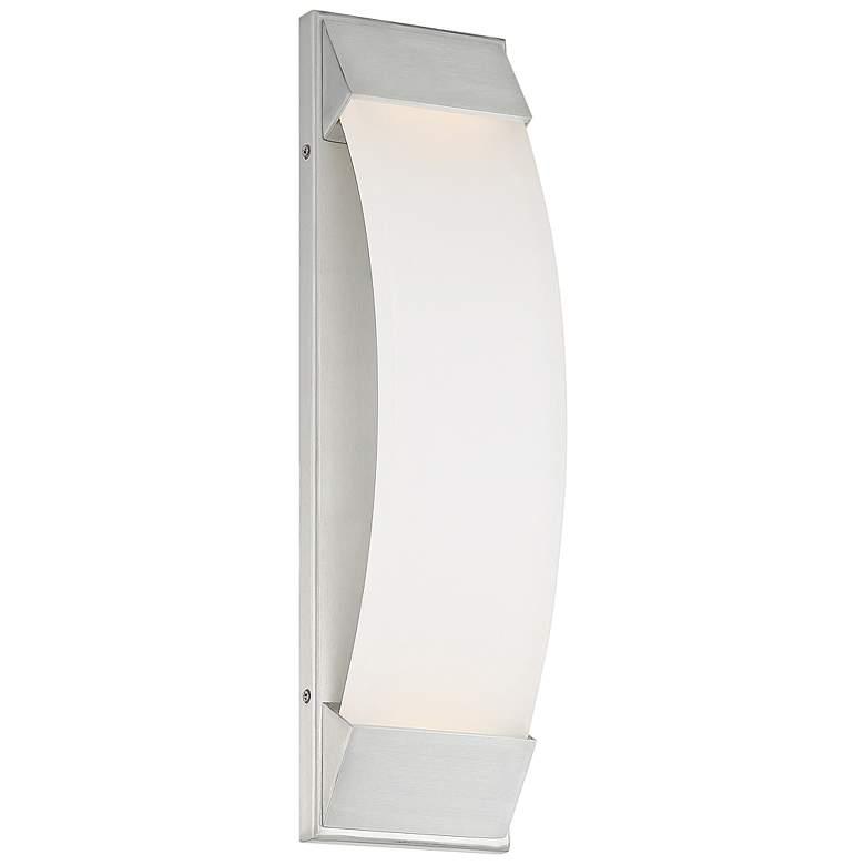 """dweLED Panorama 18""""H Brushed Aluminum LED Outdoor Wall"""