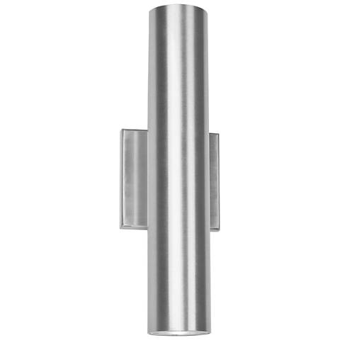 "Caliber 14""H Brushed Aluminum 2-Light LED Outdoor Wall Light"