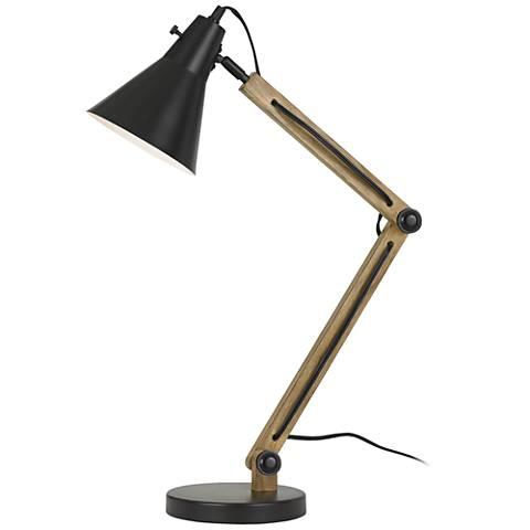 Scotia Dark Bronze Metal and Wood Desk Lamp