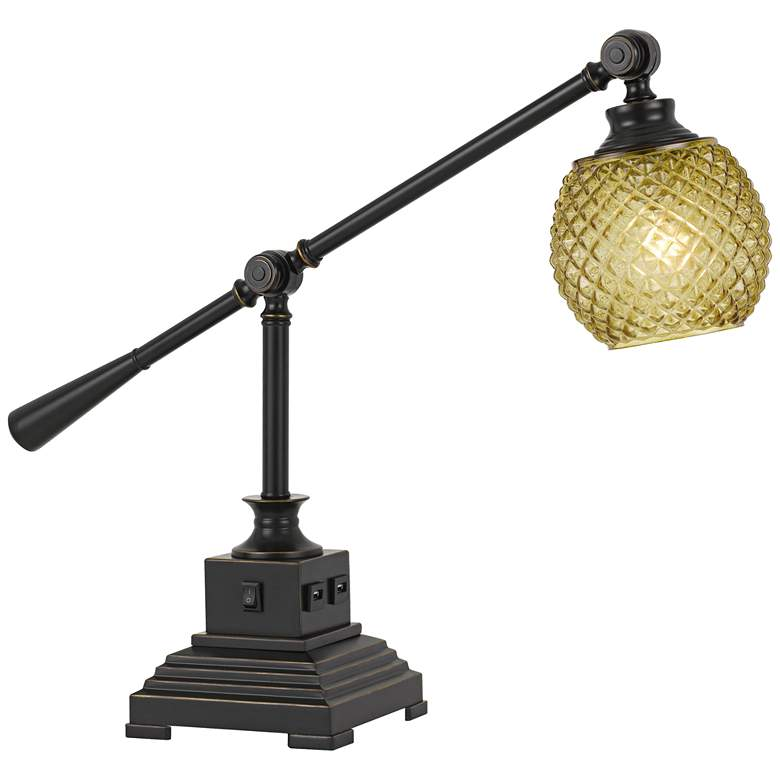 Brandon Dark Bronze Metal Desk Lamp with USB Port