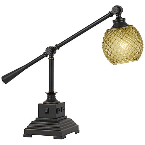 Brandon Dark Bronze Metal Desk Lamp with USB Port
