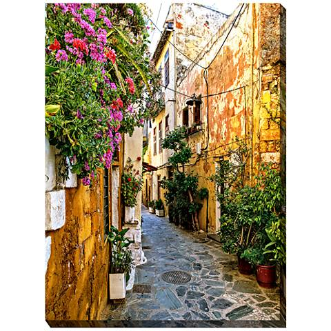 "Chania Alley 40"" High All-Weather Outdoor Canvas Wall Art"