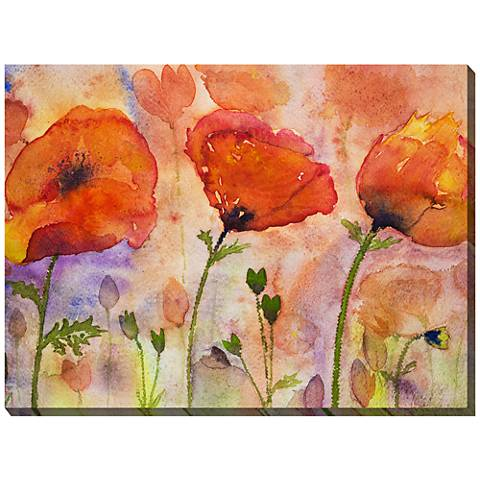 "Three Poppies 40"" Wide All-Weather Outdoor Canvas Wall Art"