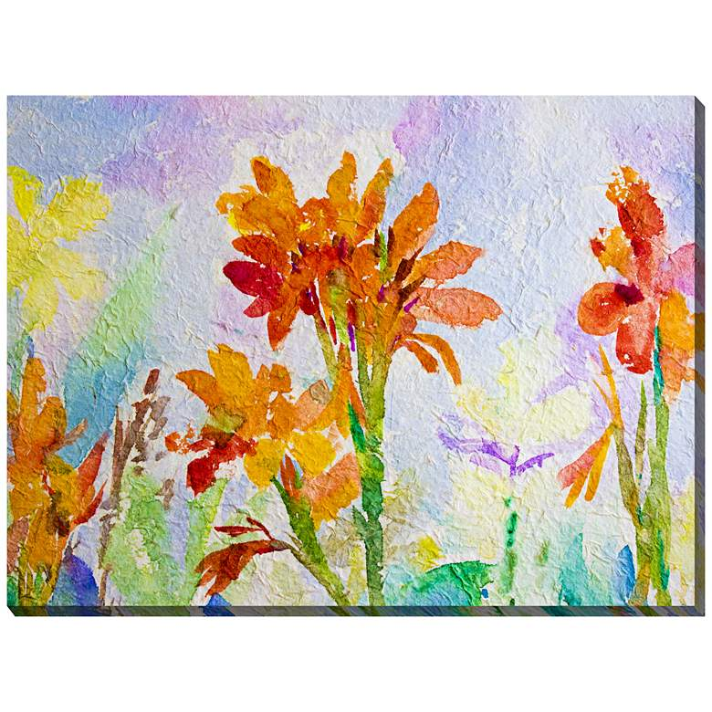 """Canna Watercolor 40""""W All-Weather Outdoor Canvas Wall Art"""