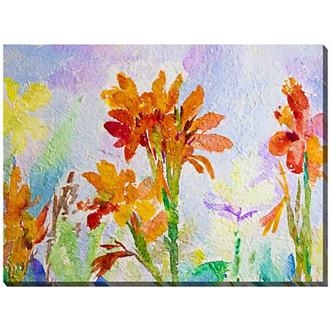 "Canna Watercolor 40""W All-Weather Outdoor Canvas Wall Art"
