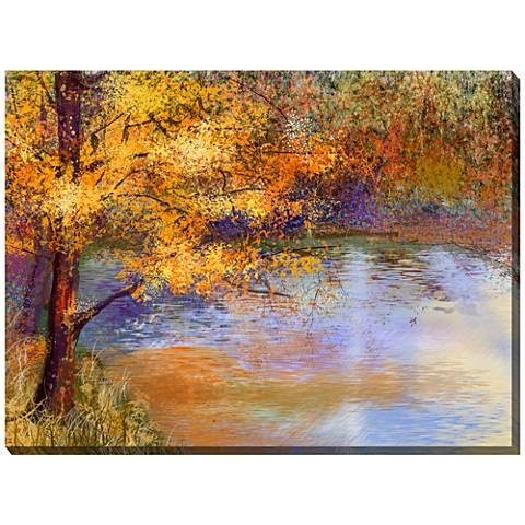 "Touch of Gold 40"" Wide All-Weather Outdoor Canvas Wall Art"