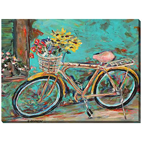 """Teal Bicycle 40"""" Wide All-Weather Outdoor Canvas Wall Art"""