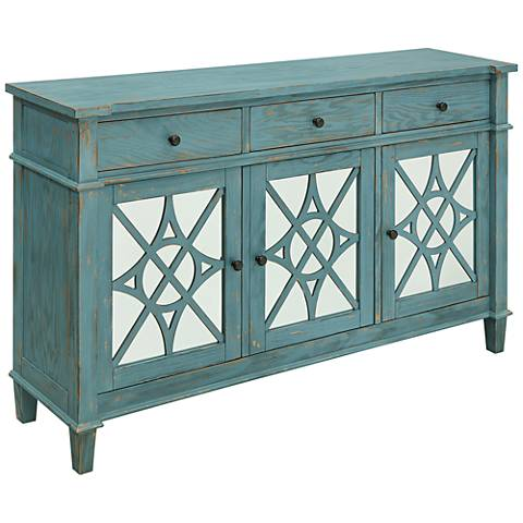 Kyla Blue Skies Rub Wood 3-Drawer 3-Door Media Credenza