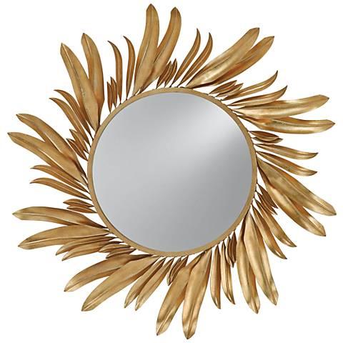 """Currey and Company Folium Gold Leaf 31"""" Round Wall Mirror"""