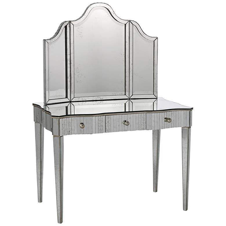 """Gilda Silver and Antique 36"""" x 28 1/4"""" Arch Vanity Mirror"""