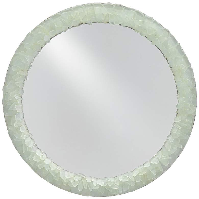 """Arista Harlow Silver Leaf and Seaglass 22"""" Round Wall Mirror"""