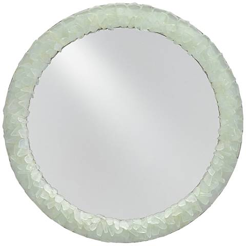 "Arista Harlow Silver Leaf and Seaglass 22"" Round Wall Mirror"