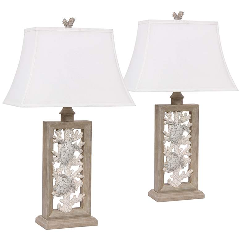 Antigua Sand Coral Rectangular Table Lamps Set of 2