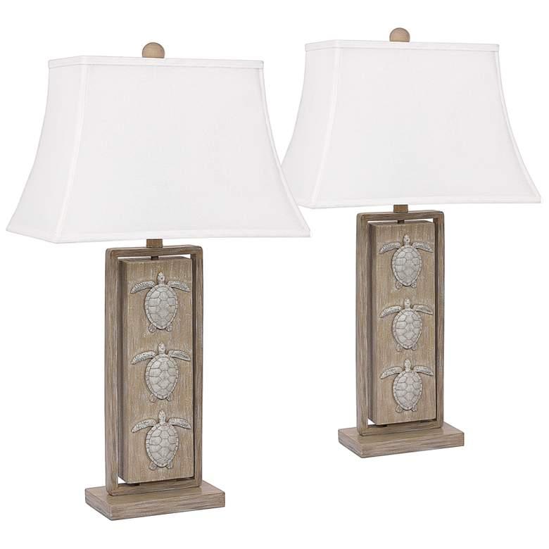 Antigua Sand Turtle Rectangular Table Lamps Set of 2