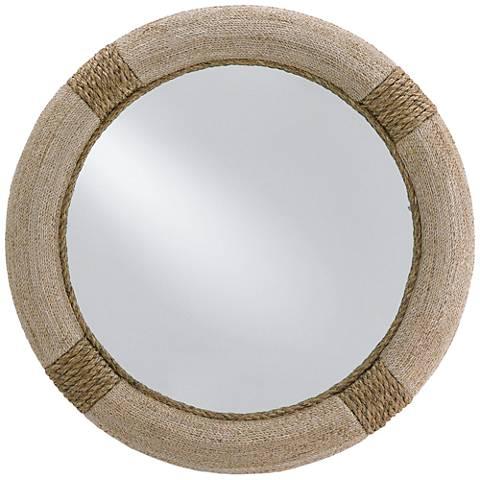 """Siba Natural Abaca Wood and Rope 36"""" Round Wall Mirror"""