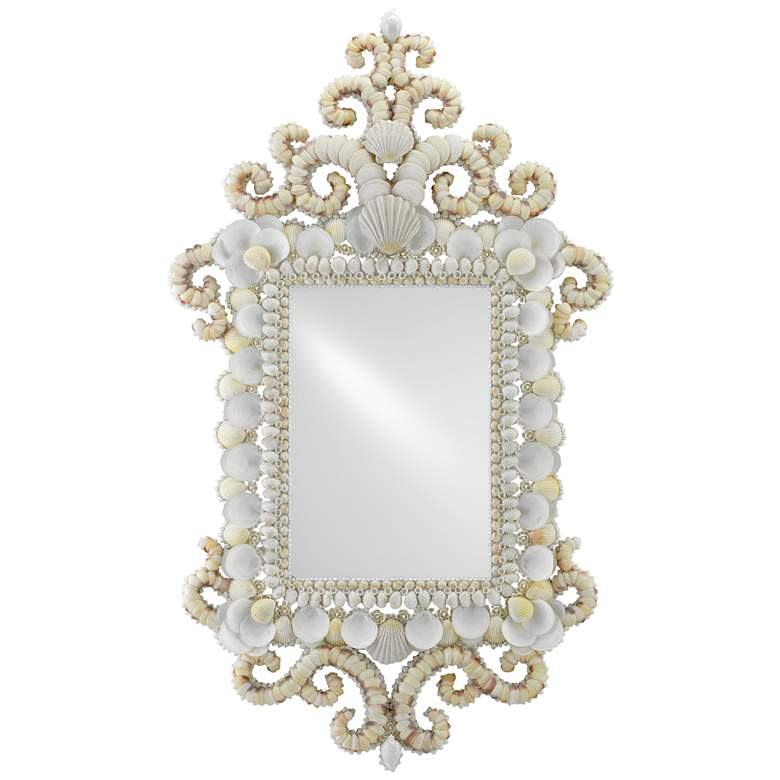 "Cecilia White and Natural Shells 36"" x 62"" Wall Mirror"