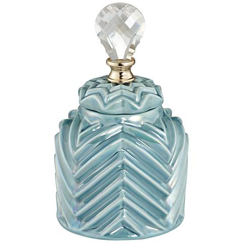 Small Washed Blue Chevron Canister with Lid