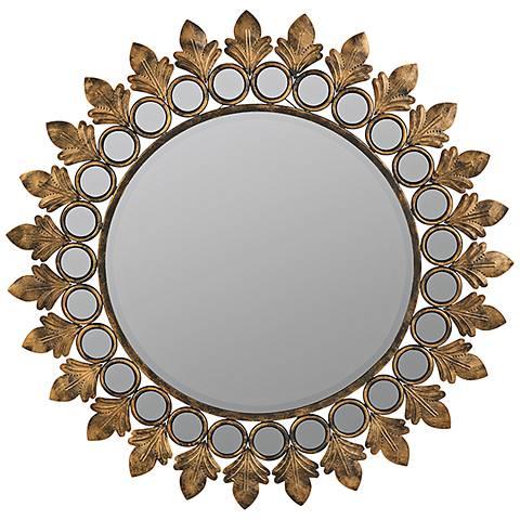 "Cooper Classics Lana Antique Gold 31 1/2"" Round Wall Mirror"