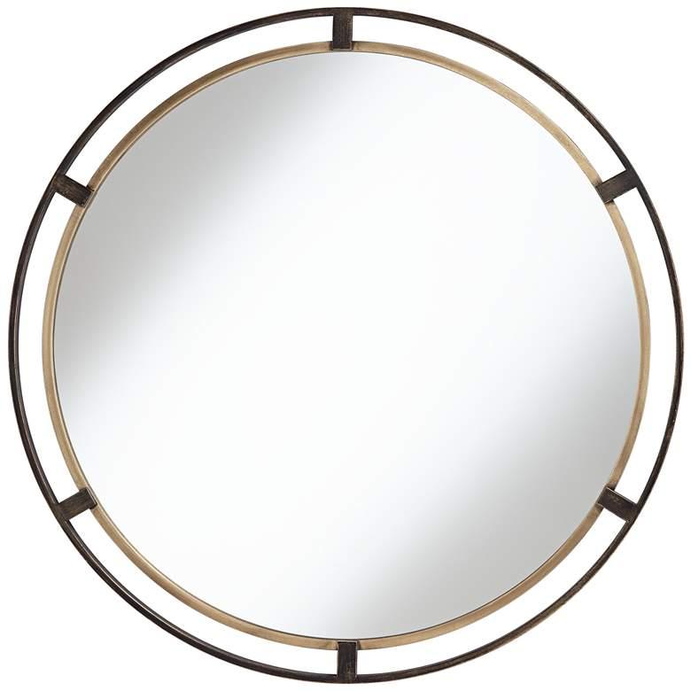 """Uttermost Crest Bronze and Gold 34"""" Round Wall Mirror"""