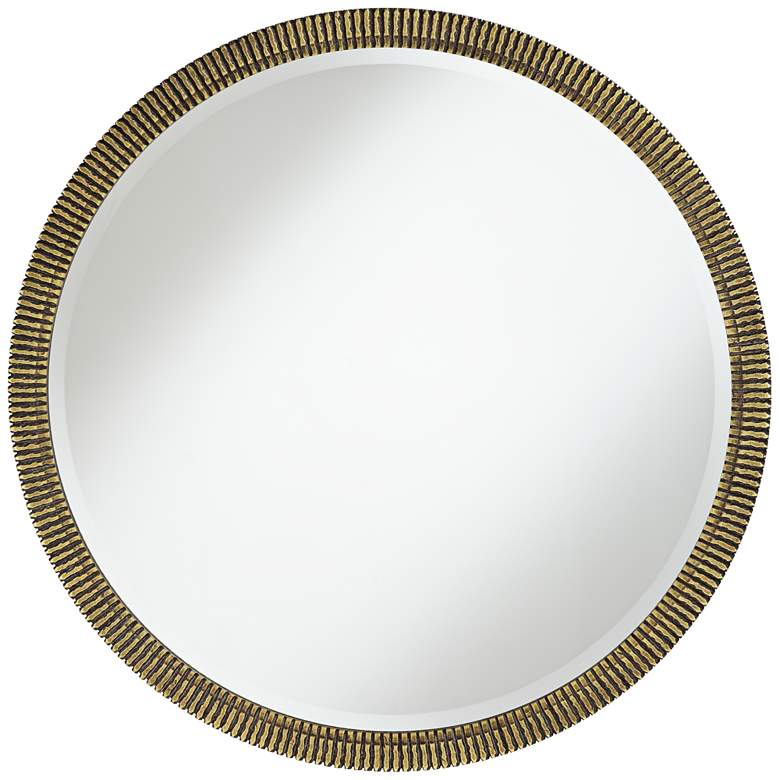 "Lucca Distressed Gold Grooved 34"" Round Wall Mirror"