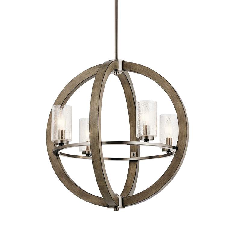 """Grand Bank 20""""W Distressed Antique Gray 4-Light Chandelier"""