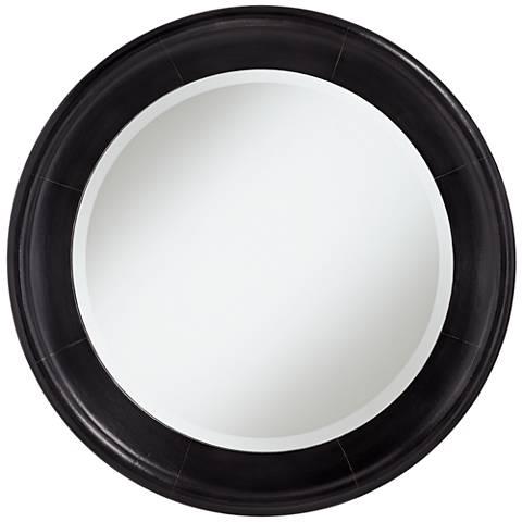 """Uttermost Kennedy Black Bronze 33"""" Round Wall Mirror"""