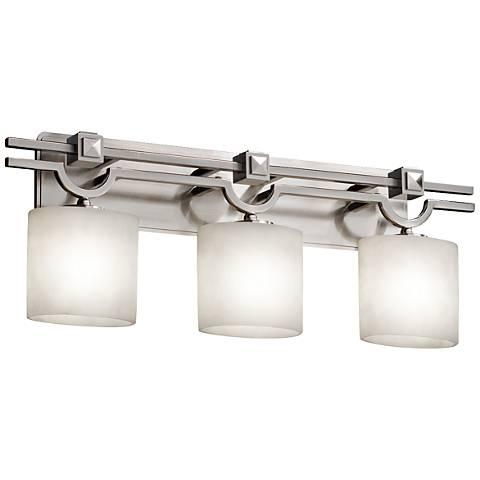 """Clouds™ Argyle 29"""" Wide Brushed Nickel 3-Light Bath Light"""