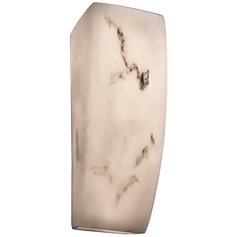 "LumenAria™ 14"" High Faux Alabaster Rectangular Wall Sconce"