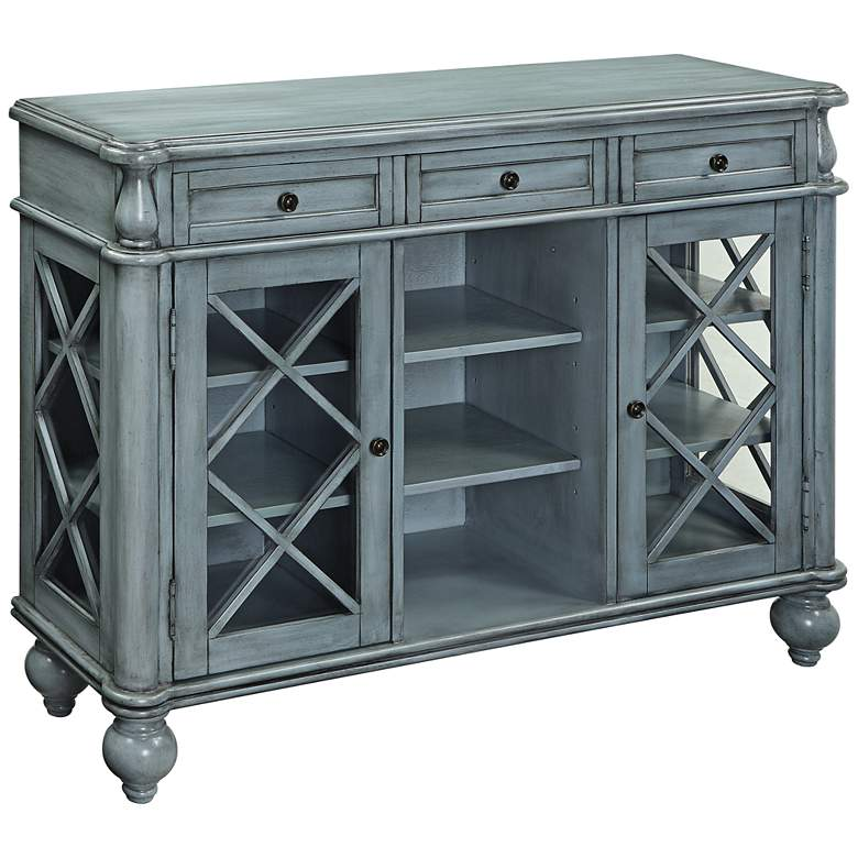 "Dayna  48"" Wide Antiqued Blue Wood Credenza with Glass Doors"
