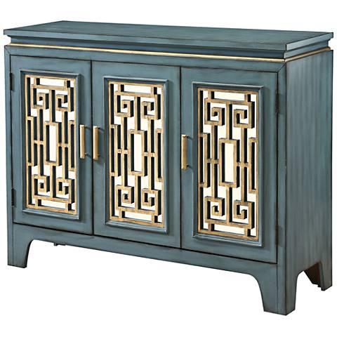 Gracia Blue Star and Gold Wood 3-Door Credenza