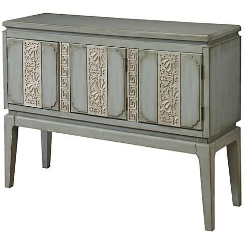 Phoebe Springtime Blue Wood 3-Door Console