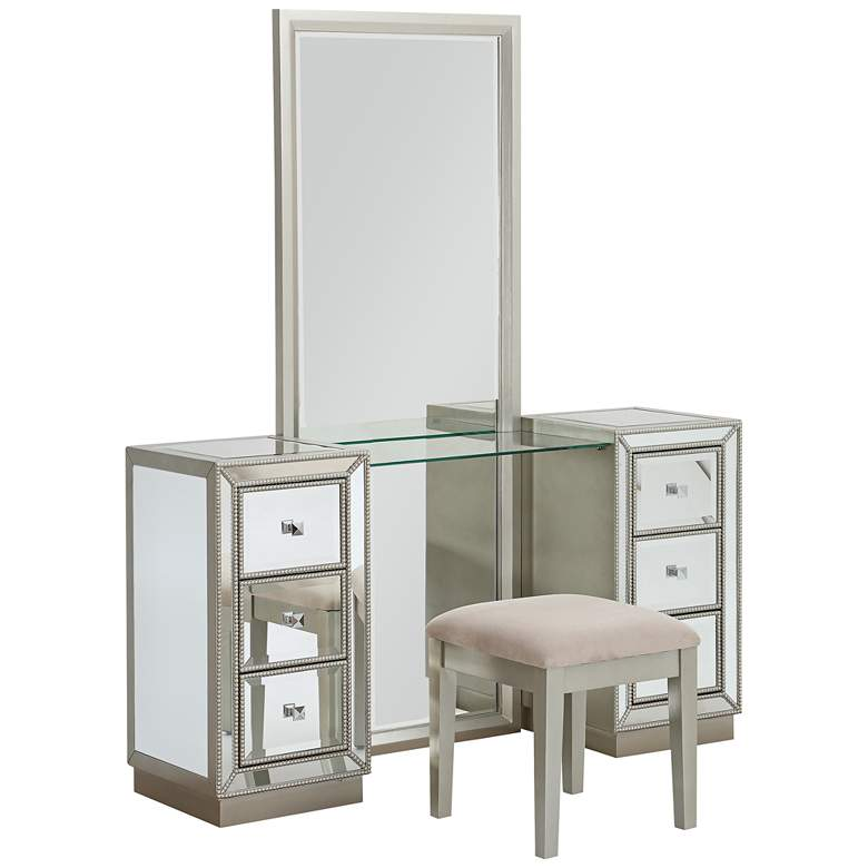 """Isa 60"""" Wide Console and Stool Set with Dressing Mirror"""